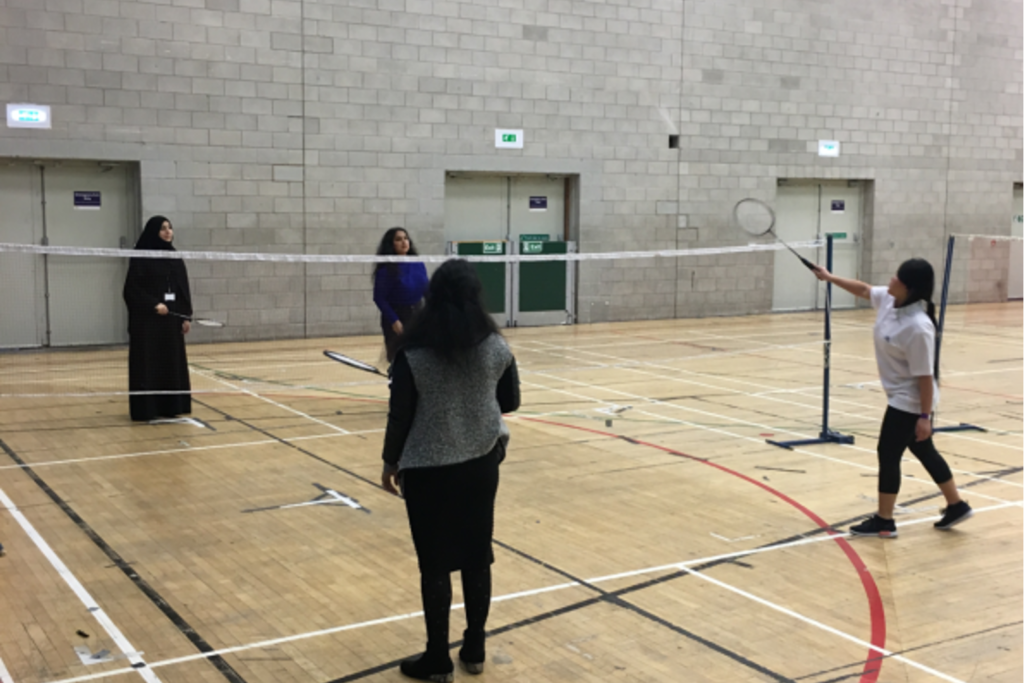 Photograph of students in our Hub sports hall